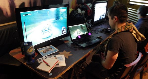 DiRT3 being demonstrated on the PC, controlled with gaze-tracking