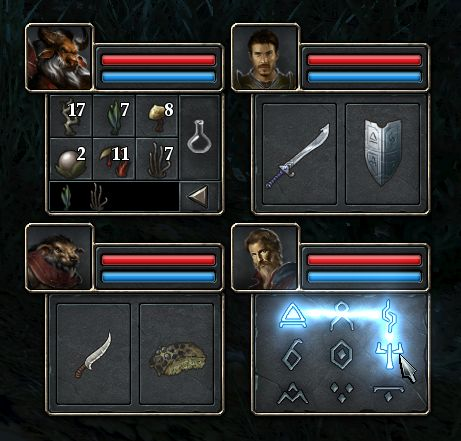 Legend of Grimrock 2 Potion and Magic interface